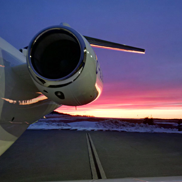 Chris in Canada, ready for a night flight - Embraer 450